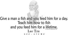 "ThinkerShirts.com presents Lao Tzu and his famous quote ""Give a man a fish and you feed him for a day. teach him how to fish and you feed him for a lifetime."" Available in men, women and youth sizes"