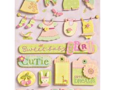 Small Wonders Baby Girl Grand Adhesions Scrapbooking Stickers K&Company
