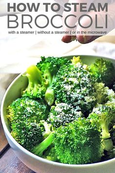 How to steam broccoli perfectly every time so it is still crisp yet fork tender and delicious.  Learn how to steam broccoli with a steamer | How to steam broccoli without a steamer | How to steam broccoli in the microwave. #LTGrecipes #broccoli #steamedbroccoli #howto #tutorial #steamedveggies #sidedish