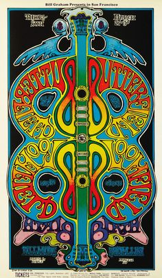 Fillmore West (San Francisco) Concert Poster — The Paul Butterfield Blues Band, Mike Bloomfield, Birth — March 27-30, 1969
