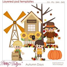 Autumn Days Templates by Kristi W. Designs, fall, harvest, scarecrow, clipart, commercial use, scrap, scrapbooking, graphics, digital,