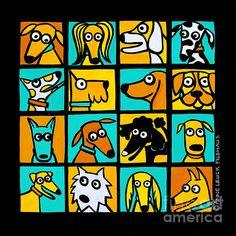 I heart Anne Leuck Feldhaus Wine Label Art, Art Trading Cards, School Murals, Artist Portfolio, Dog Illustration, Mixed Breed, Animal Paintings, Dog Art, Art Lessons