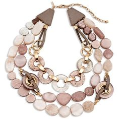 Chico's Bea Multi-Strand Necklace ($69) ❤ liked on Polyvore featuring jewelry, necklaces, blush, beaded jewelry, leather necklace, adjustable leather necklace, bead necklace and multi strand necklace