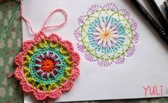 20 ideas mandalas para atrapasueños en crochet ⋆ manualidades y Motif Mandala Crochet, Crochet Circles, Crochet Motifs, Crochet Blocks, Crochet Flower Patterns, Crochet Diagram, Crochet Chart, Crochet Squares, Crochet Flowers