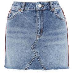 Topshop Moto Denim Mini Skirt ($40) ❤ liked on Polyvore featuring skirts, mini skirts, bottoms, denim miniskirt, mini skirt, short skirts, blue skirt and topshop skirts