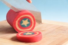 Captain America Shield Cookie Log- Rosie's Dessert Spot