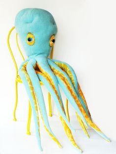 Large Plush Blue Octopus Toy Nautica at Etsy