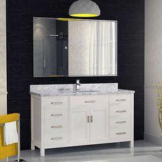 Studio Bathe – Meuble-lavabo simple Kalize II 60 blanc avec miroir