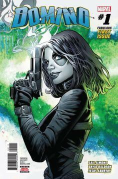 COMIC BOOK: Domino # 1 (Vol III). PUBLISHER: Marvel Comics. WRITER(S) Gail Simone. ARTIST: David Baldeon. COVER ARTIST: Greg Land, Frank DArmata. ORIGINAL RELEASE DATE: 4 / 11 / 2018. COVER PRICE: $3.99. RATING: Parental Advisory.