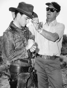 John Wayne and Ricky Nelson Candid Photo on The Set Rio Bravo, 1959
