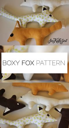 boxy fox plush pattern + tutorial - see kate sew Sewing Patterns For Kids, Sewing Projects For Kids, Sewing For Kids, Diy For Kids, Sewing Ideas, Plush Pattern, Fox Pattern, Toys For Boys, Kids Toys