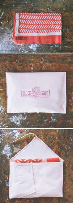 Joanna Waterfall for Block Shop Textiles. Love the use of texture and technique in this identity.