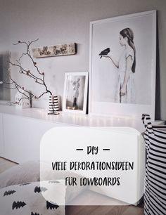 DIY viele Deko Ideen für ein Lowboard. Ikea Besta Lowboard dekorieren. Deko Tipps für das Lowboard im Wohnzimmer.