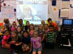 Terry Stouffer's second graders taking a selfie with Ms.Jenaia. Gotta love Ms. Jenaia's smile.