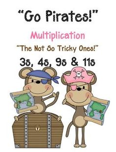 """Go Pirates!"" Multiplication Go Fish Game  The Not So Tricky Ones ~ 3, 4, 9 and 11s!  Common Core Standards   Math - Operations & Algebraic Thinking  Third Grade: 3.OA.3 3.OA.7  Math ~ Number & Operations in Base Ten  Fourth Grade: 4.NBT.5  This card game focuses on the not too hard/not too easy basic division facts!  * 24 PAGES of a Pirate Monkey Theme!  * 96 mixed cards for the game! $3"