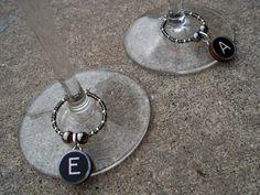Typewriter Key Wine Glass Charms   http://www.etsy.com/shop/elizdesignetsy