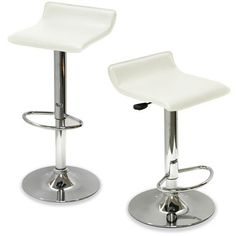 King's Brand Air Lift Adjustable Bar Stool with Vinyl Seat, White and Chrome Finish, Set of 2 White Bar Stools, Bar Stools With Backs, Leather Bar Stools, Modern Bar Stools, Home Bar Furniture, Coaster Furniture, Furniture Decor, Adjustable Bar Stools, Swivel Bar Stools