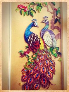 Made by Selina Dinh‎-  Quilled peacocks (Searched by Châu Khang) really like how the eyes were done