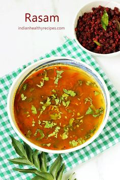 Rasam is a traditional South Indian soup made of tomatoes & spices. A quick recipe to make delicious rasam at home Healthy Soup Recipes, Curry Recipes, Quick Recipes, Cooking Recipes, Recipes Dinner, Vegetable Recipes, Cooking Tips, South Indian Rasam Recipe, Indian Food Recipes