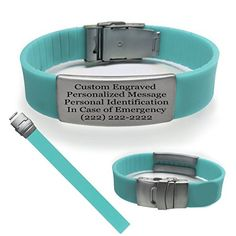 Teal Sport Fitness Safety ID Bracelet with Free Personalized Engraving Hypoallergenic band and Stainless Steel Matte Plate for Runner Cyclist Tri Athletes Religious -- Check this awesome product by going to the link at the image.