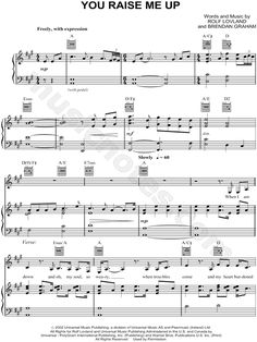Print and download You Raise Me Up sheet music by Josh Groban. Sheet music arranged for Piano/Vocal/Guitar in A Major (transposable).