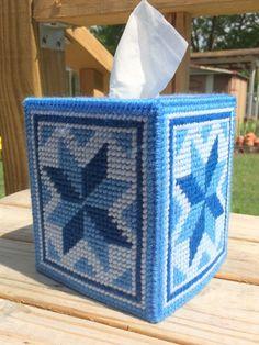 Blue Quilt Star Tissue Cover handmade Boutique size plastic canvas #Handmade