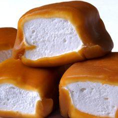 Caramel-wrapped marshmallows.