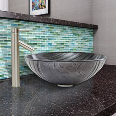 Interspace Glass Vessel Bathroom Sink and Dior Faucet Set