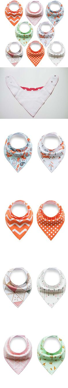 Baby Bandana Drool Bibs, 8-Pack Gift Set for Drooling and Teething,Super Absorbent Bibs with Snaps for Girls and Boys