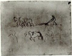 Sketches of Peasant Plowing with Horses 1890  Vincent van Gogh