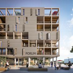 Forum am Seebogen - heri + salli Grid Architecture, Architecture Visualization, Architecture Portfolio, Concept Architecture, Amazing Architecture, Social Housing Architecture, Architecture Diagrams, Building Facade, Building Design