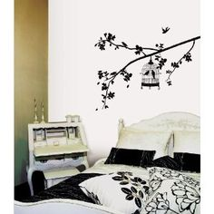 Wall decal bedroom idea, wall decals, birdcages, bedrooms, home kitchens, wall stickers, birds, apart idea, branches