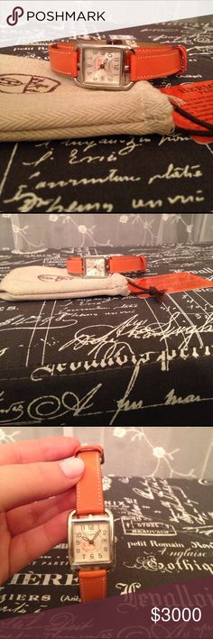 NEW! Orange Hermes Paris watch Amazing find!! Orange Hermes watch with bag and card as pictured. Comes with sticker on face of watch. Received as gift and authenticated Hermes Accessories Watches