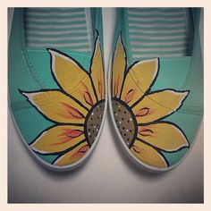 Ladies Teal Painted Canvas Shoes via Etsy $26