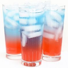 This colorful punch is a great way to cool down! Since many 4th of July celebrations include kids, this recipe is alcohol-free.    Ever wonder why the liquids will separate out into distinct layers? It has to do with the sugar content of each beverage used. More sugar = a more dense liquid. You can make many layers, but start your drink with the most sugar-filled liquid and go from there. This is also why a can of Coca-