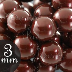 3mm Maroon Glass pearl beads by Swarovski Style by SouthPawBeads, $3.99
