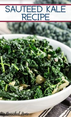 This is my favorite healthy kale recipe! I like the lacinato kale used in this r… This is my favorite healthy kale recipe! I like the lacinato kale used in this recipe rather than traditional curly kale. Fried Kale, Sauteed Kale, Kale Kale, Vegetable Side Dishes, Vegetable Recipes, Veggie Food, Lacinato Kale Recipe, Healthy Vegetables, Veggies