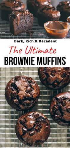 These are the ultimate brownie muffins—dark, rich, dense, and fudgy with a deep to-die-for chocolate flavor. Informations About Ultimate Brownie Mu Easy Baking For Kids, Baking Recipes For Kids, Baking Ideas, Köstliche Desserts, Chocolate Desserts, Dessert Recipes, Chocolate Brownies, Dessert Simple, Healthy Sweet Treats