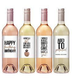marilyncaldwellenjoy - 0 results for wine basket gift ideas Funny Wine Labels, Custom Wine Labels, Wine Bottle Labels, Wine Jokes, Wine Funnies, Food Labels, Funny Birthday Gifts, Wine Birthday, Champagne Birthday