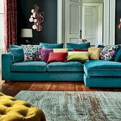teal sofa the striking harrington large chaise sofa is a fantastic addition to a QNRVTJP . Turquoise Sofa, Living Room Turquoise, Living Room Colors, Living Room Designs, Turquoise Accents, Living Room Decor Teal, Colourful Living Room, Teal Living Room Sofas, Bedroom Colors