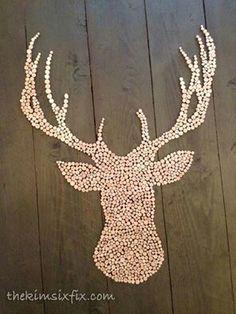 projects ideas dear head. The Kim Six Fix  Wood Slice Deer Head Silhouette Pallet Art head silhouette