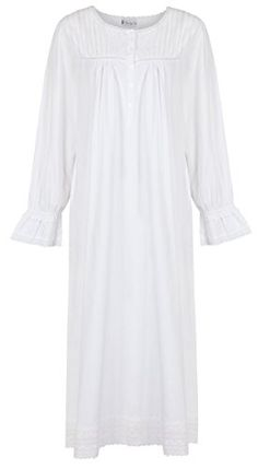 A very pretty and elegant long sleeve cotton nightgown with pretty broider  anglaise trim around the hem. Length Top of shoulder to hem 7df5ff1f7