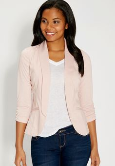 Knit blazer with cinched sleeves in pink chalk