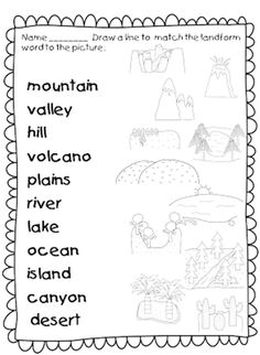 21 Landforms for Kids Activities and Lesson Plans - Landforms Worksheet Set for first grade - Teach Junkie