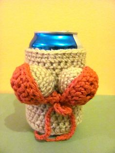 It is a crocheted handmade beer can cozy, decorated with two boobies, covered with a removable bikini top. It is a fun gift for guys and ladies :). For request i can change the color and/or the size for smaller bottles! Funny Crochet, Crochet Humor, Crochet Ideas, Crochet Projects, Crochet Hats, Bigfoot, Gag Gifts, Beer Bottle, Crocheting