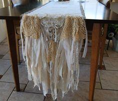 Vintage lace & burlap table runner