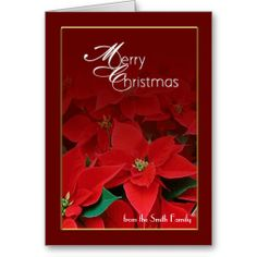 Red Gold Poinsettia Merry Christmas Card