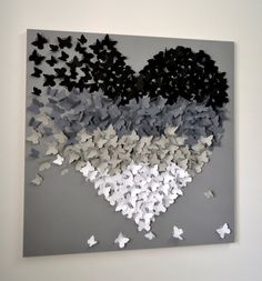 3D Butterfly Wall Art in Dark Ombre Modern Collage by RonandNoy
