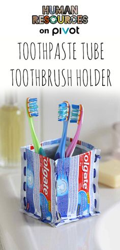 Looking for a refreshing alternative to throwing away your toothpaste tubes? This easy do-it-yourself project up-cycles your empty tubes into a simple, sturdy toothbrush holder. Upcycling material like this is a great way to reuse without costing a mint. So many fun things to make out of what you were going to throw away!