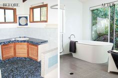 Before & After: The bathroom reno that goes from seriously ugly to simply fabulous Bathroom Renovation Cost, Renovation Budget, Built In Bathtub, Corner Bathtub, Shower Recess, Wall Hung Vanity, Old Bathrooms, Frameless Shower, Make A Plan